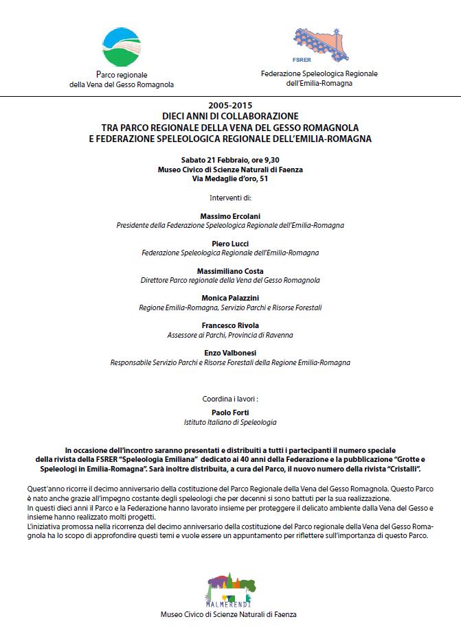 decimo anniversario della costituzione del Parco Regionale della Vena del Gesso Romagnola